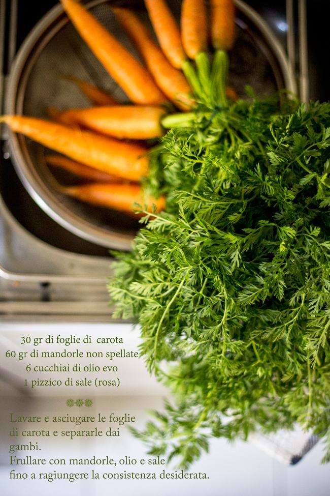 """Pesto di foglie di carota """"All'ombra dei mandorli in fiore"""""""