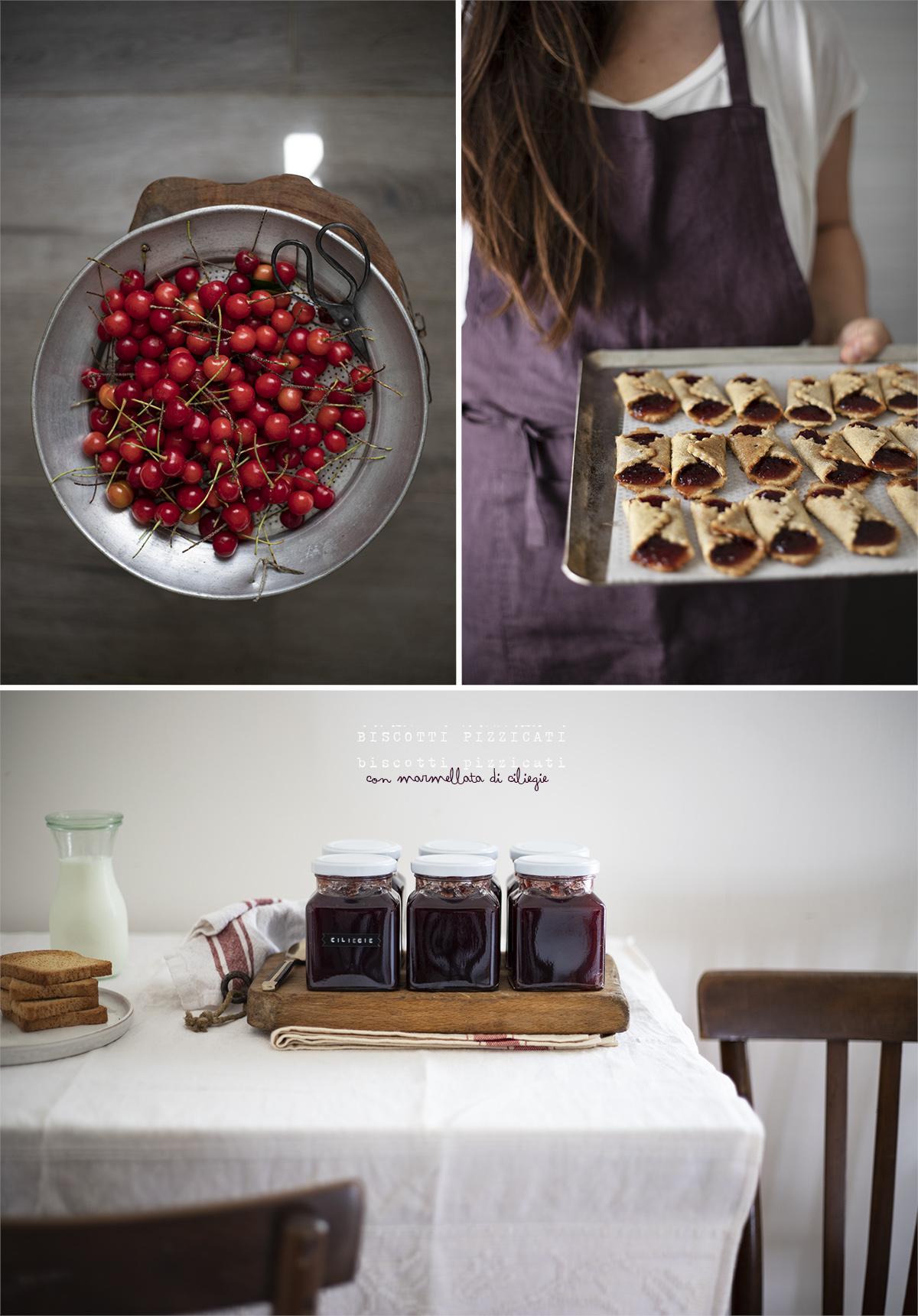 biscotti pizzicati e marmellata di ciliegie